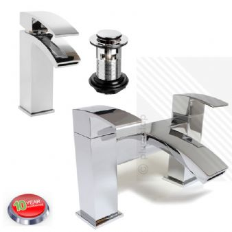 Arian Poppy Modern Curved Bathroom Basin & Bath Filler Mixer Tap Pack